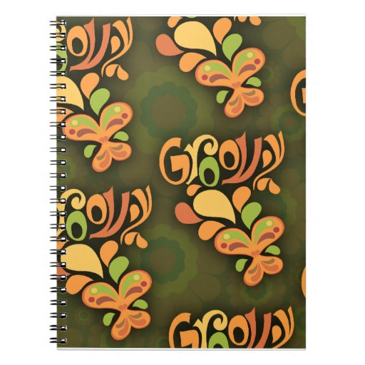 Groovy 60's Butterfly Pattern Spiral Notebook