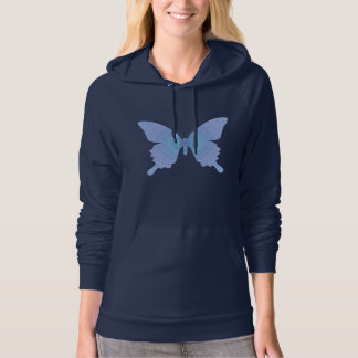 Groovy 60's Peace Butterfly blue Hooded Pullover