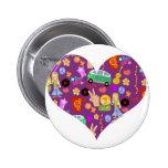 Groovy 60's Purple Love 2 Inch Round Button