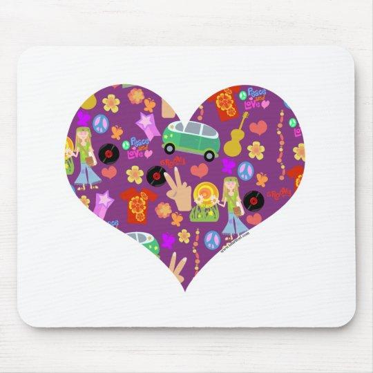 Groovy 60s Purple Love Mouse Pad