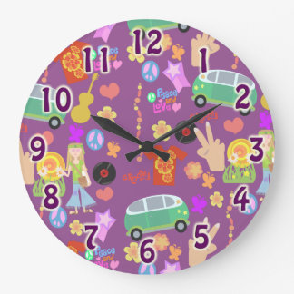 Groovy 60's Purple Love Pattern Large Clock