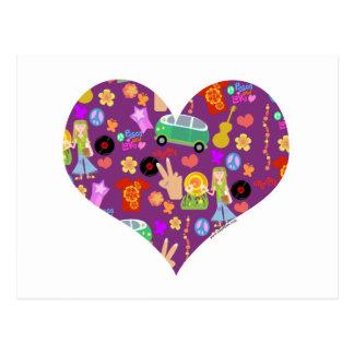 Groovy 60s Purple Love Postcard