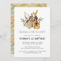 Groovy 60s Themed Birthday Party Boho Invitation