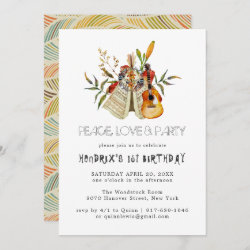 Groovy 60s Themed Birthday Party Boho Invitation