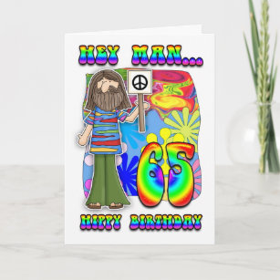 Groovy 65th Birthday - Hippy Birthday Card
