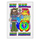 Groovy 65th Birthday - Hippy Birthday Greeting Card