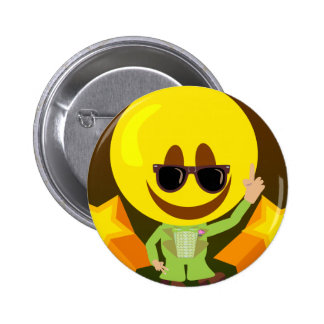Groovy 70's Disco Smiley Pinback Button