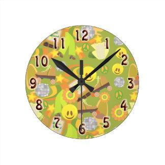 Groovy 70's Green Disco Pattern Round Clock