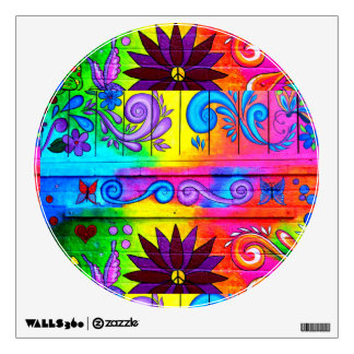 groovy 70's hippie decal room graphic