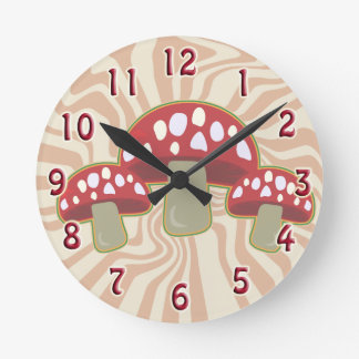 Groovy 70's Red Top Mushrooms Round Clock