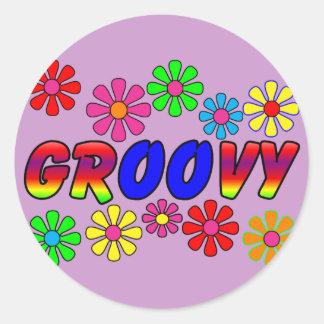 Groovy 70's Retro Flower Power Gifts Classic Round Sticker