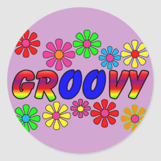 Groovy 70's Retro Flower Power Gifts Classic Round Sticker