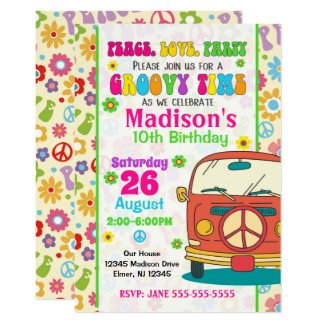 Groovy 70s Themed Birthday Invitation / Hippie Van