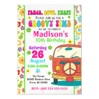Groovy Themed Birthday Invitation / Hippie Van