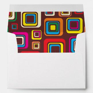 Groovy 70s Tile Pattern Squares On Brown Envelope