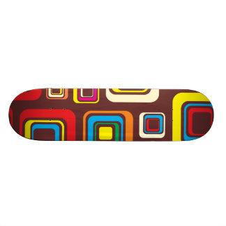 Groovy 70s Tile Pattern Squares On Brown Skateboard Deck