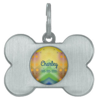 Groovy Abstract Desert  Oasis Landscape Scene Pet Name Tag