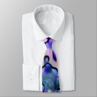 Groovy Abstract Watercolor Wash in Blues and Pinks Neck Tie