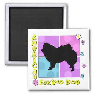 Groovy American Eskimo Dog 2 Inch Square Magnet
