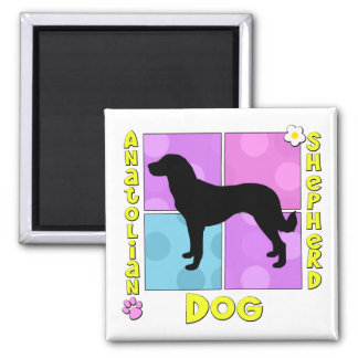 Groovy Anatolian Shepherd Dog 2 Inch Square Magnet