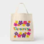 Groovy and Flowers Bright Colors 60s Hippie Design Canvas Bags