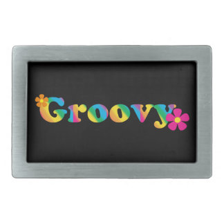 Groovy and Flowers Bright Colors 60s Hippie Design Belt Buckles