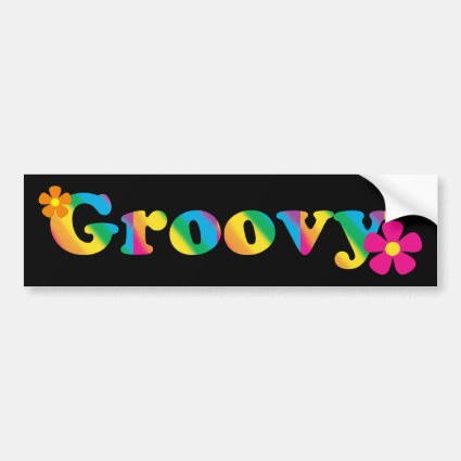 Groovy and Flowers Bright Colors 60s Hippie Design Car Bumper Sticker