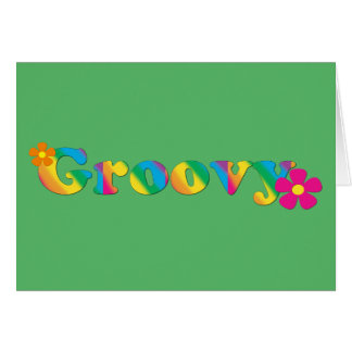 Groovy and Flowers Bright Colors 60s Hippie Design Card
