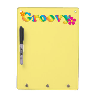 Groovy and Flowers Bright Colors 60s Hippie Design Dry Erase Boards