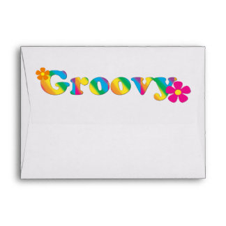Groovy and Flowers Bright Colors 60s Hippie Design Envelope