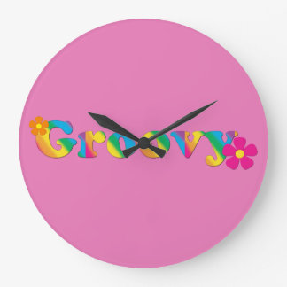 Groovy and Flowers Bright Colors 60s Hippie Design Large Clock