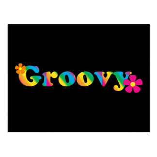 Groovy and Flowers Bright Colors 60s Hippie Design Postcard