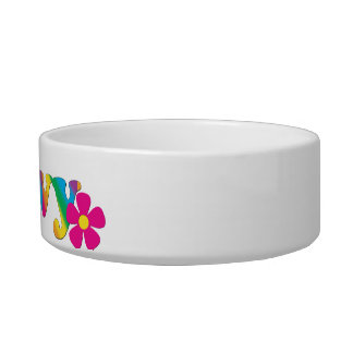Groovy and Flowers Rainbow Colors Cat Bowl