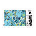 Groovy Aqua Floral Postage Stamp stamp