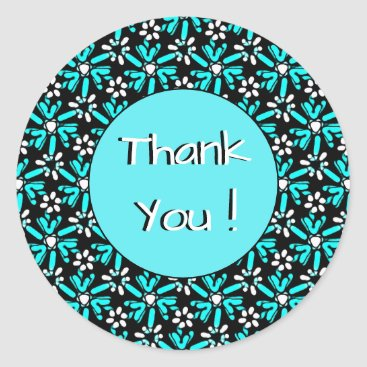 Groovy Batik Turquoise Flower Pattern Thank You Classic Round Sticker