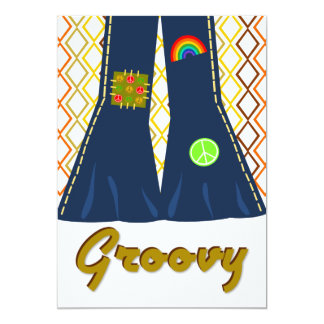 Groovy Bell Bottom 70's Theme Party 5x7 Paper Invitation Card