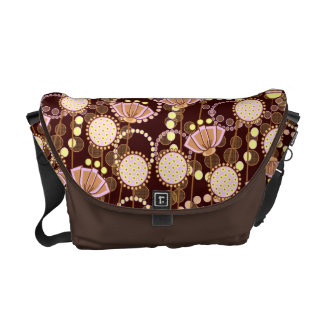 Groovy Blooms Pink on Brown Customizable Courier Bag