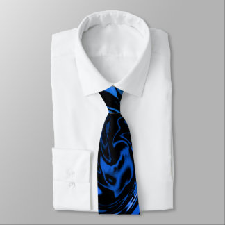 Groovy Blue and Black Abstract Wet Paint Whirl Neck Tie