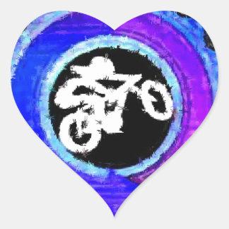 Groovy Blue Bike Rider Heart Sticker