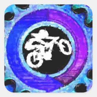 Groovy Blue Bike Rider Square Sticker