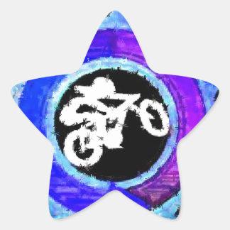 Groovy Blue Bike Rider Star Sticker