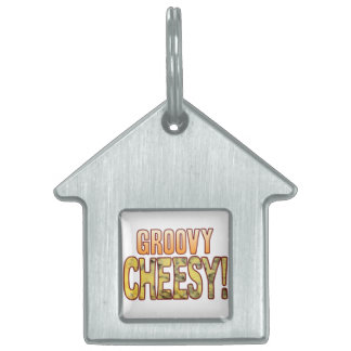 Groovy Blue Cheesy Pet Name Tag