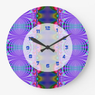 Groovy blue circle abstract design large clock