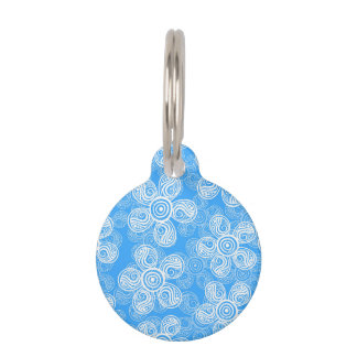 Groovy Blue Flowers Design Pet Tag