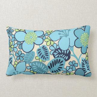 Groovy Blue Flowers Lumbar Pillow