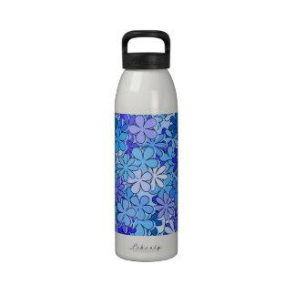 Groovy Blue Flowers Drinking Bottle