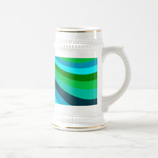 Groovy Blue Green Rainbow Slide Stripes Pattern Beer Stein