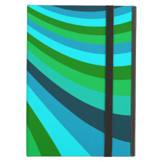 Groovy Blue Green Rainbow Slide Stripes Pattern iPad Air Cover