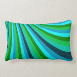 Groovy Blue Green Rainbow Slide Stripes Pattern Throw Pillow
