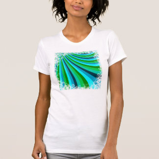 Groovy Blue Green Rainbow Slide Stripes Pattern T Shirt